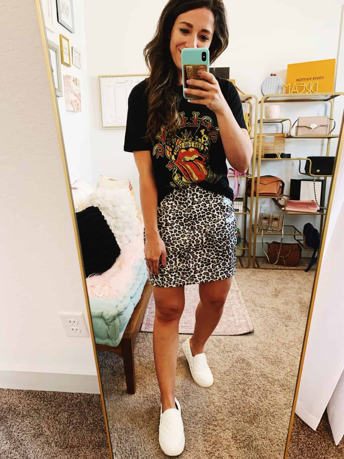 graphic tee styled with a mini skirt for Fall