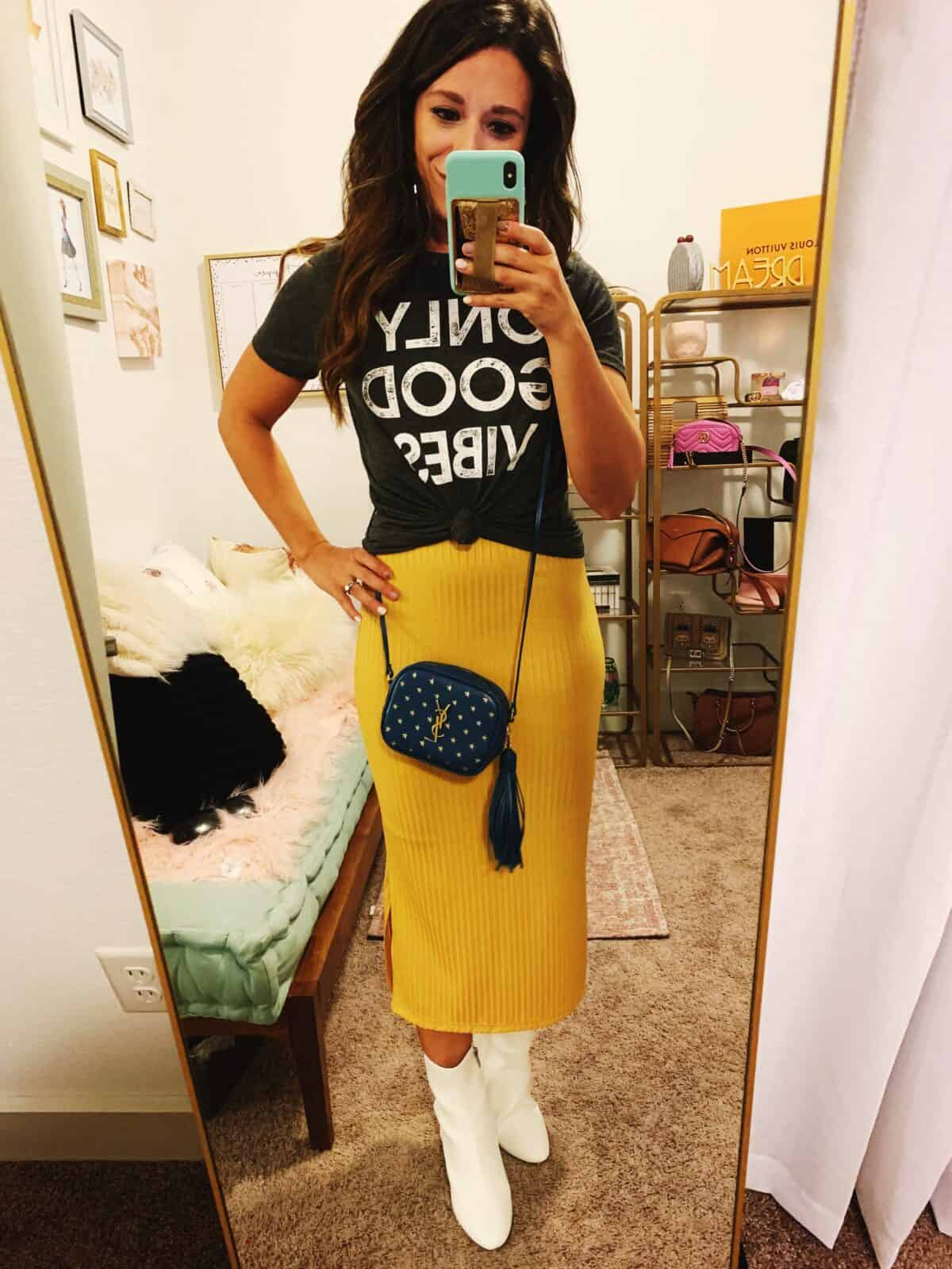 graphic tee styled with a midi skirt for Fall