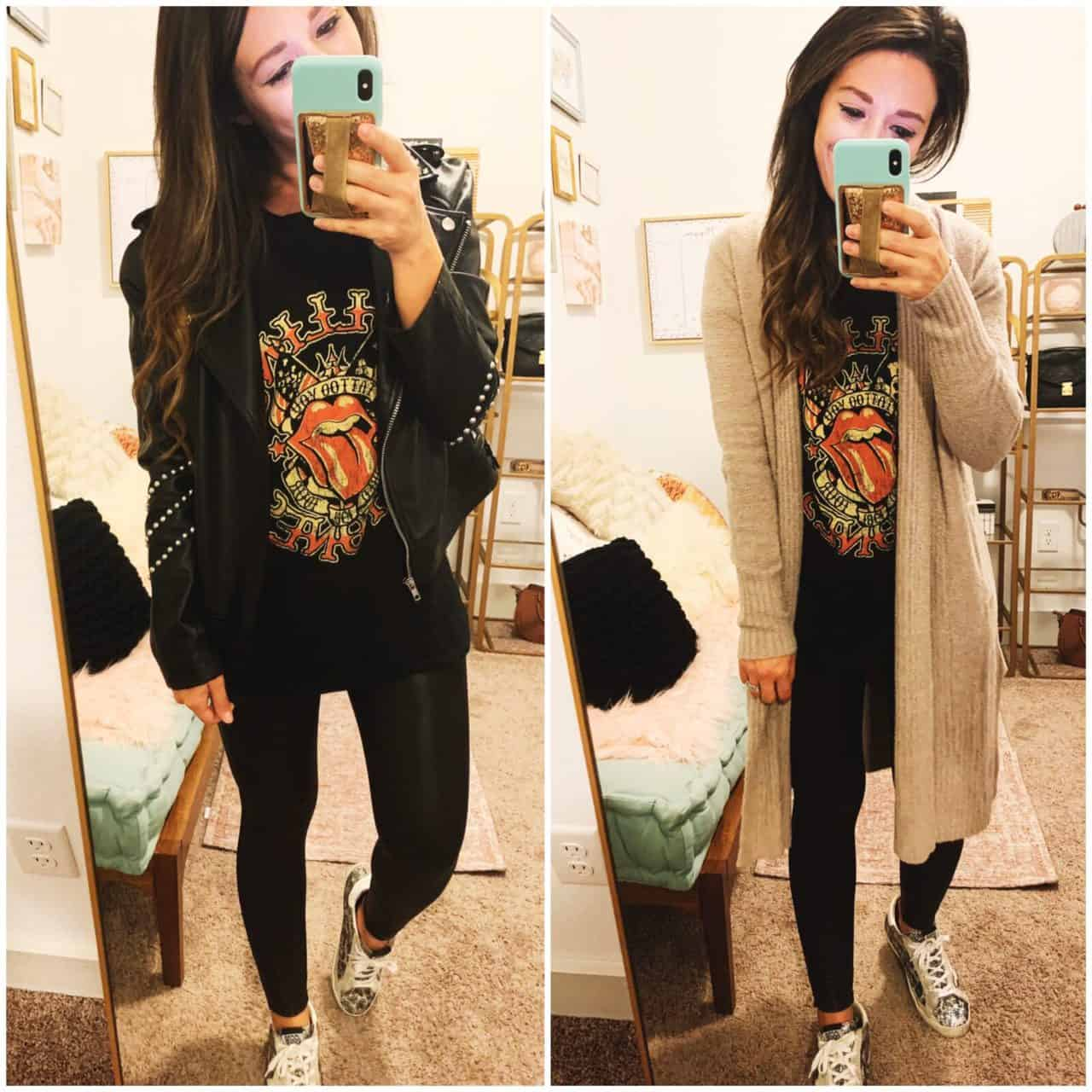 graphic tee paired with spanx leggings with long cardigan and leather jacket