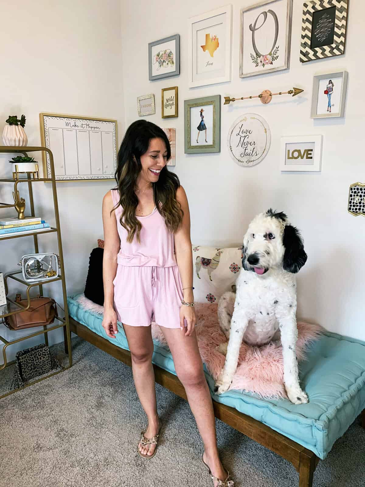 amazon pink romper and our sheepadoodle