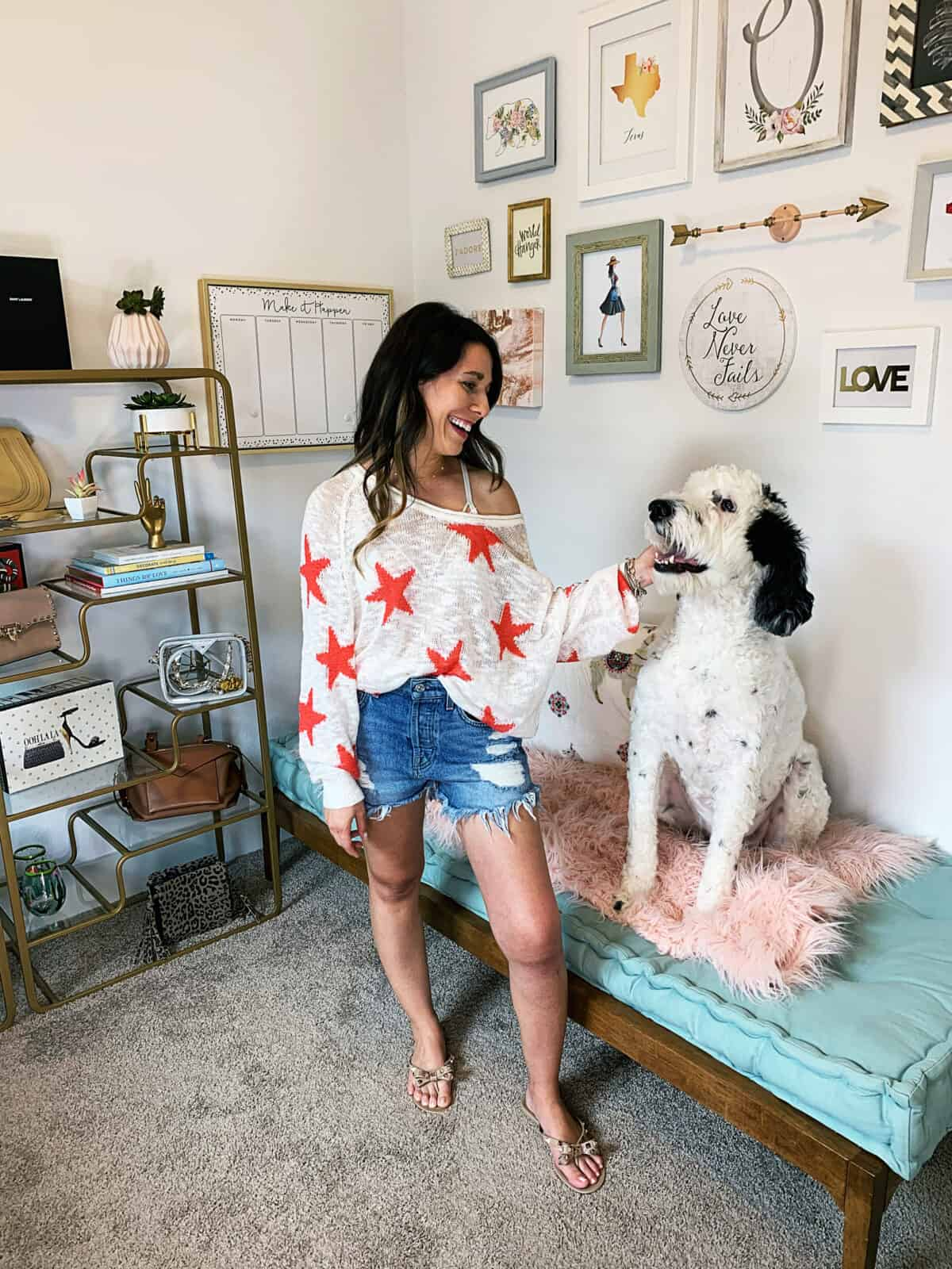 Amazon star sweater and our sheepadoodle
