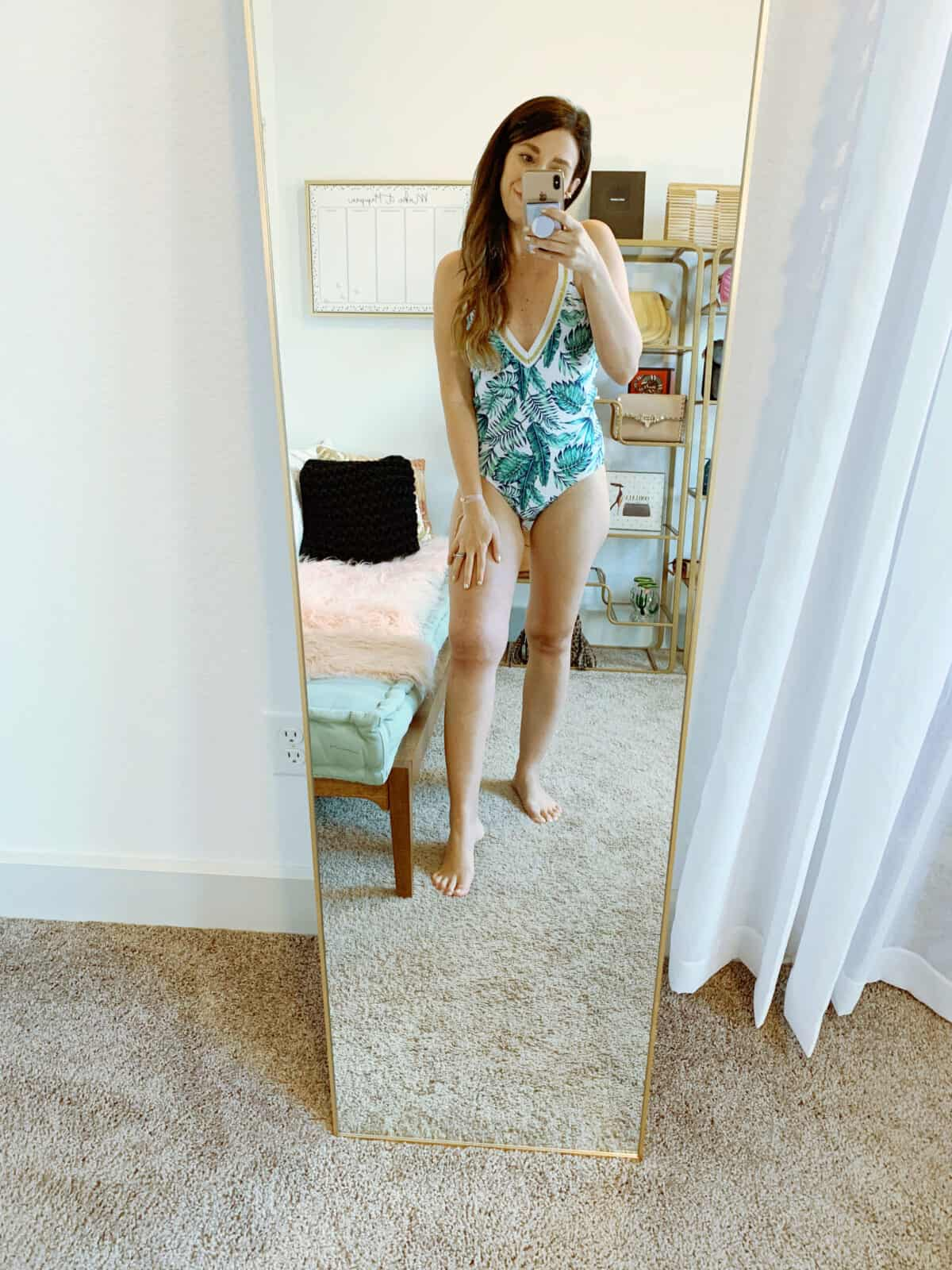 walmart bathing suit palm print one piece