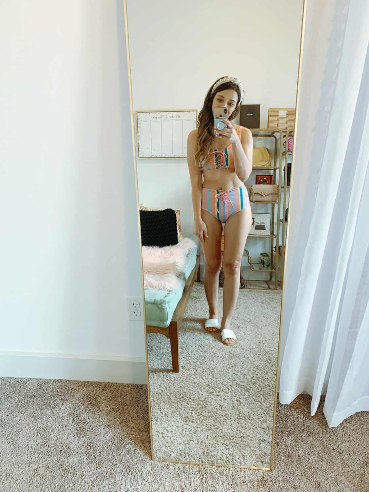 Walmart 2 piece striped swimsuit