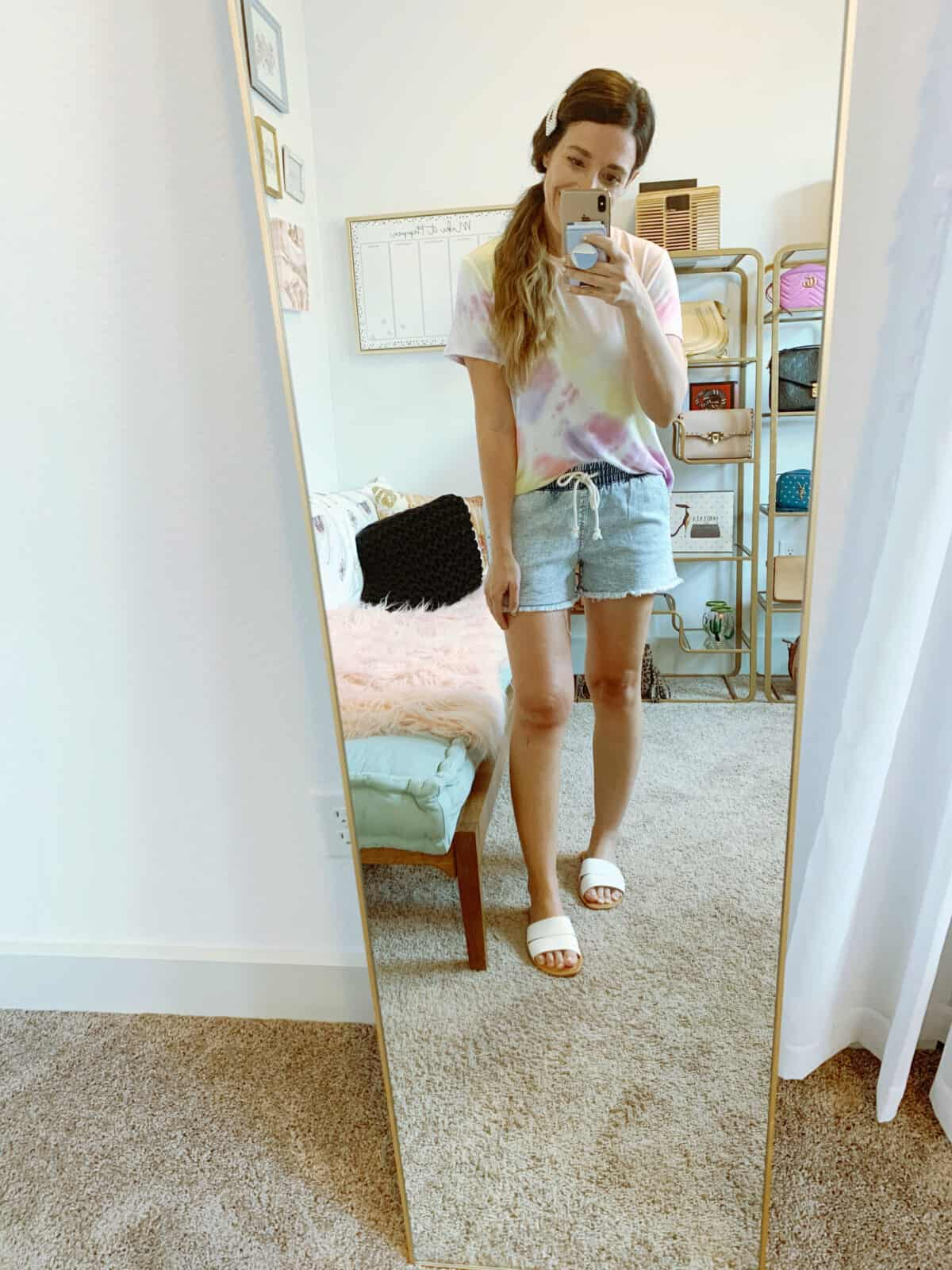 TIE DYE TOP and jean shorts